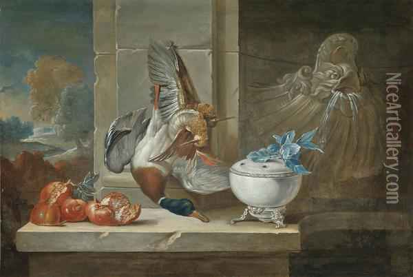 Dead Game And Pomegranates On A Ledge Beside A Fountain Oil Painting - Jean-Baptiste Oudry
