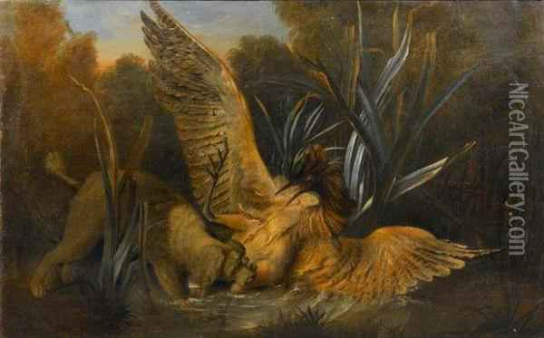 Chien Barbet Attaquant Un Butor  Oil Painting - Jean-Baptiste Oudry