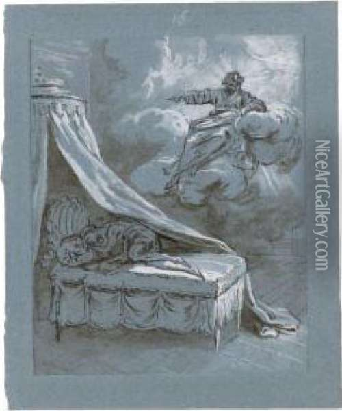God The Father Appearing To A Sleeping Figure Oil Painting - Jean-Baptiste Oudry
