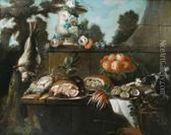 A Basket Of Peaches With A Ham 