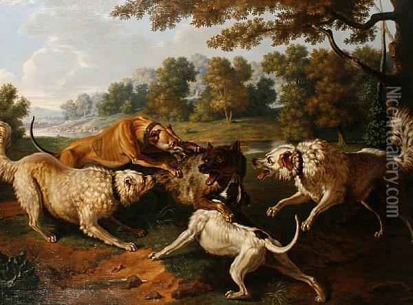 A Pack Of Dogs Attacking A Wolf Oil Painting - Jean-Baptiste Oudry