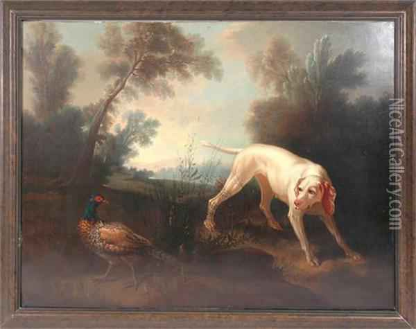 Blanch Bitch Of The Royal Hunt With Pheasant, In A Landscape Oil Painting - Jean-Baptiste Oudry