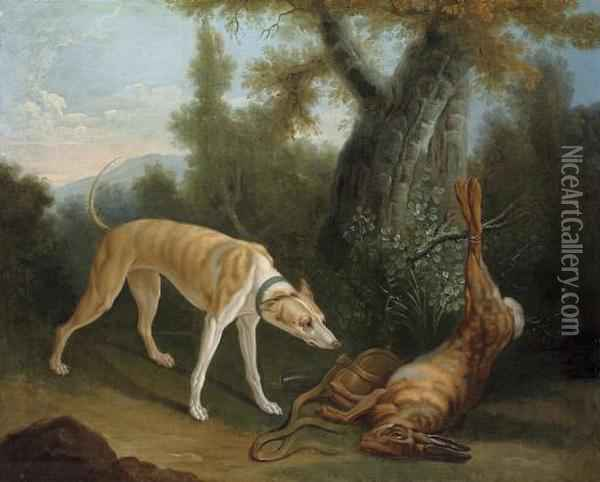 A Hound And A Dead Hare In A Wooded Clearing Oil Painting - Jean-Baptiste Oudry