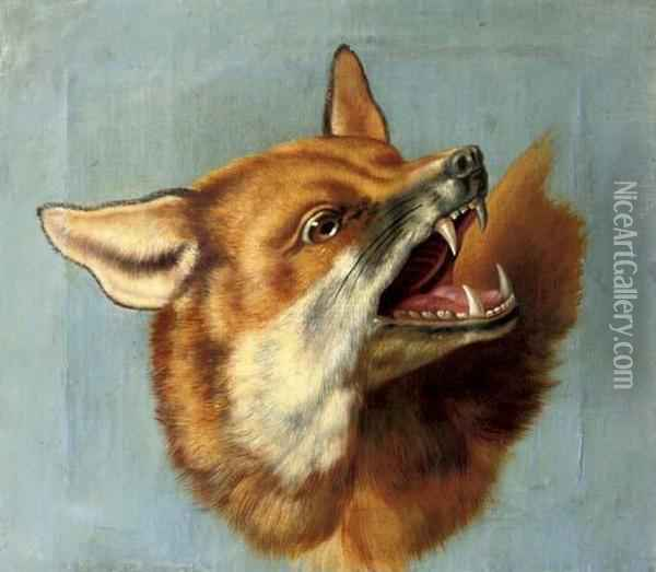 The Head Of A Fox: A Study Oil Painting - Jean-Baptiste Oudry