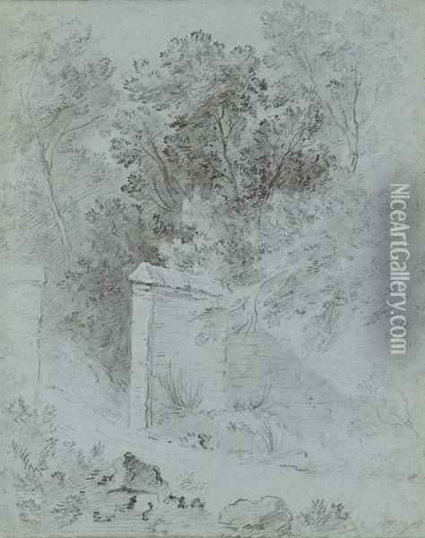 The Wall Of A Park Among Trees Oil Painting - Jean-Baptiste Oudry