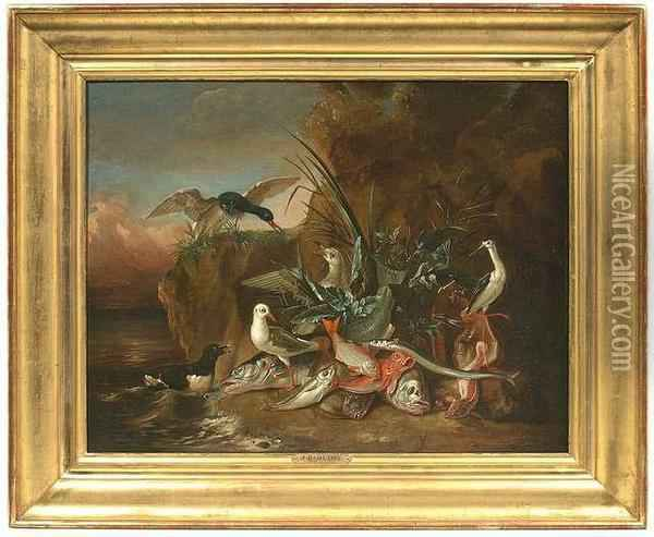 Still Life Of Fish With Aquatic Birds. Oil/canvas/canvas Oil Painting - Jean-Baptiste Oudry