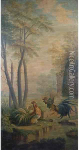 Two Fighting Cocks By A Pond In A Park Landscape Oil Painting - Jean-Baptiste Oudry