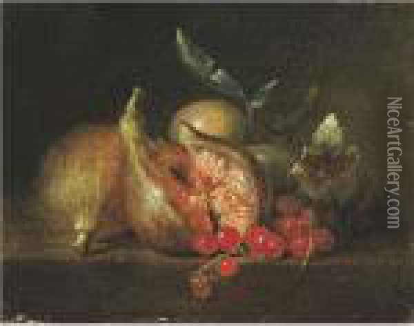 Still Life With Figs And Red Currants Oil Painting - Jean-Baptiste Oudry
