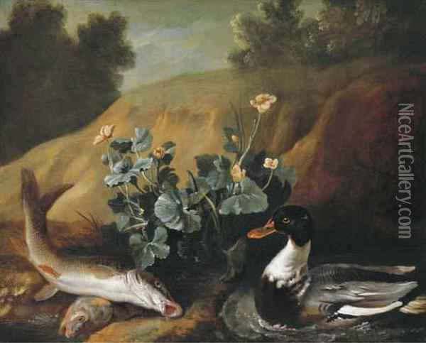 A Duck With Two Barbels At The Edge Of A Pond Oil Painting - Jean-Baptiste Oudry