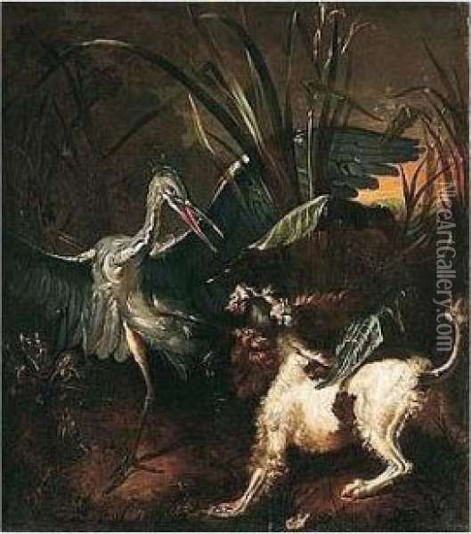 A Spaniel Attacking A Heron Oil Painting - Jean-Baptiste Oudry