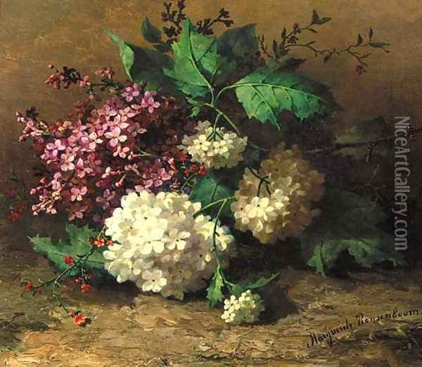 A still life with lilacs Oil Painting - Margaretha Roosenboom