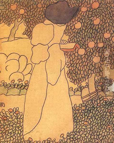 Woman in the Garden Walking Woman 1895 Oil Painting - Jozsef Rippl-Ronai