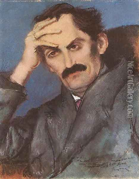Portrait of Mihaly Babits 1923 Oil Painting - Jozsef Rippl-Ronai