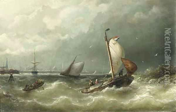 A sailing barge from Marken on the IJ, Amsterdam Oil Painting - Nicolaas Riegen
