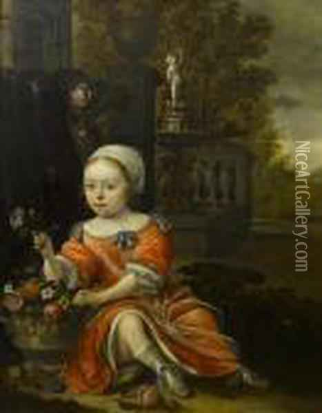 Portrait Of A Young Girl Wearing  A Red Dressand Seated By An Urn Of Flowers In A Formal Garden Oil Painting - Antonie Palamedesz