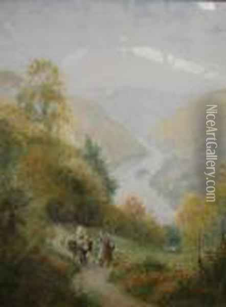 Figures On A Country Path With Woodland And A River Beyond Oil Painting - Harry Sutton Palmer