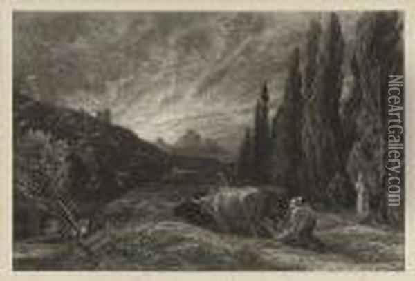 The Early Ploughman Oil Painting - Samuel Palmer
