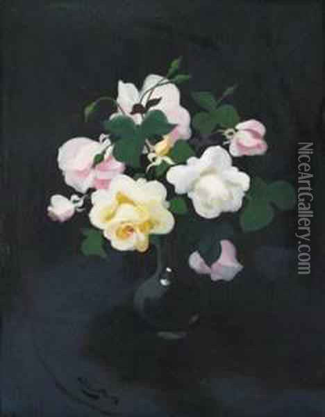 Still Life Of Yellow And Pink Roses Oil Painting - James Stuart Park