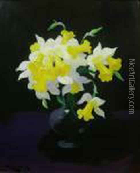 Still Life With Daffodils Oil Painting - James Stuart Park