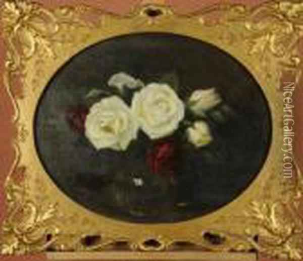 Still Life Of Red And White Roses, Held Ina Spherical Glass Vase Oil Painting - James Stuart Park
