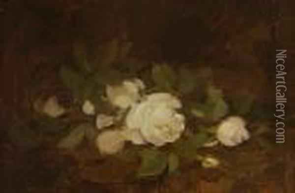 White Roses Oil Painting - James Stuart Park
