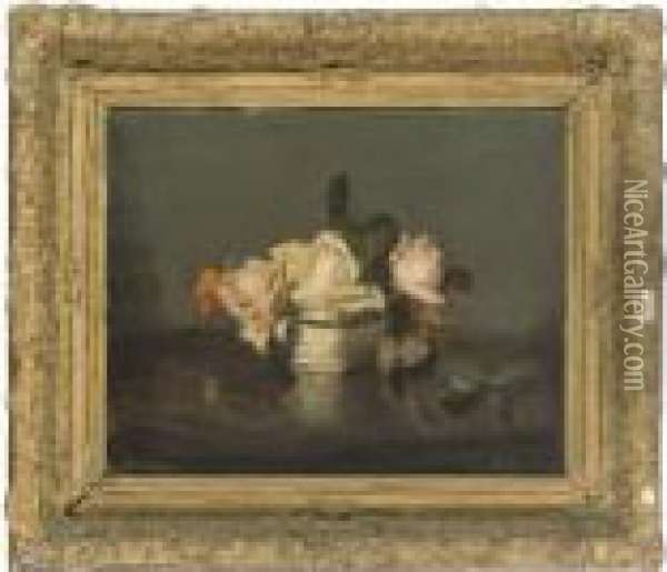 Roses In A Blue And White Bowl Oil Painting - James Stuart Park