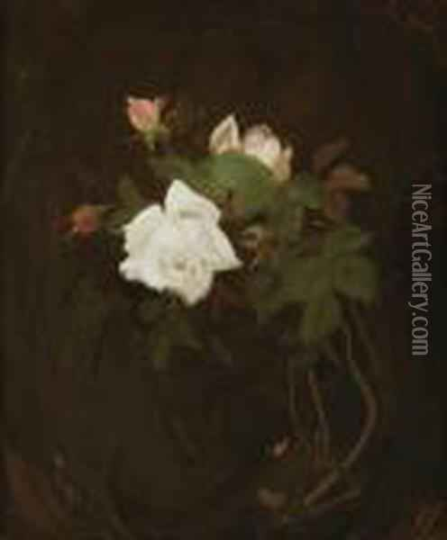Cream And Pink Roses Oil Painting - James Stuart Park