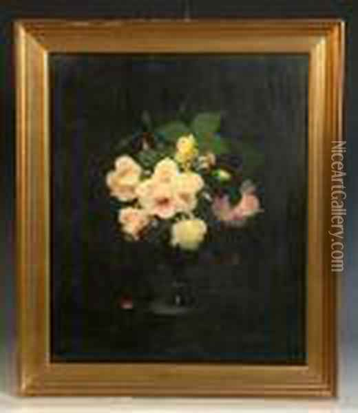 Pink And Yellow Roses Oil Painting - James Stuart Park
