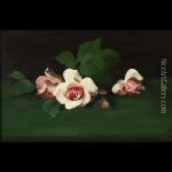Pink Roses On A Green Ground Oil Painting - James Stuart Park