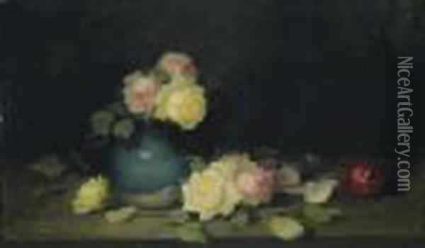 Pink And Yellow Roses In A Green Vase Oil Painting - James Stuart Park