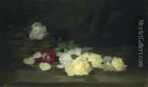 Yellow, White And Red Roses By A Basket Oil Painting - James Stuart Park