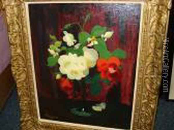 Red And Yellow Roses Oil Painting - James Stuart Park