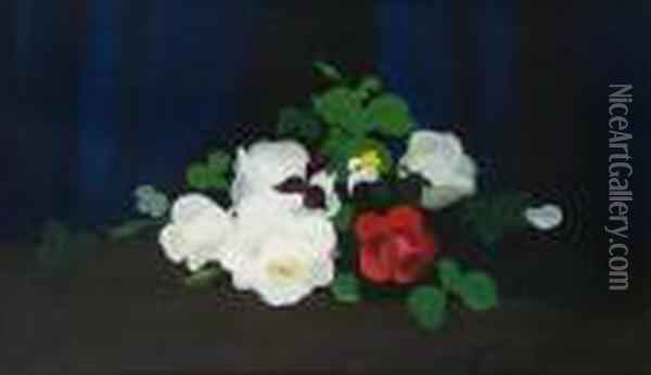 Cream And Red Roses Oil Painting - James Stuart Park