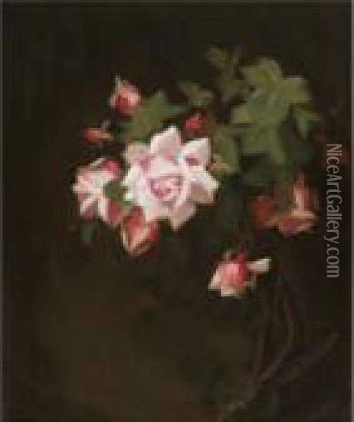 Still Life With Pink Roses Oil Painting - James Stuart Park
