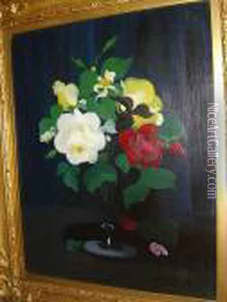 Yellow, Red And White Roses Oil Painting - James Stuart Park