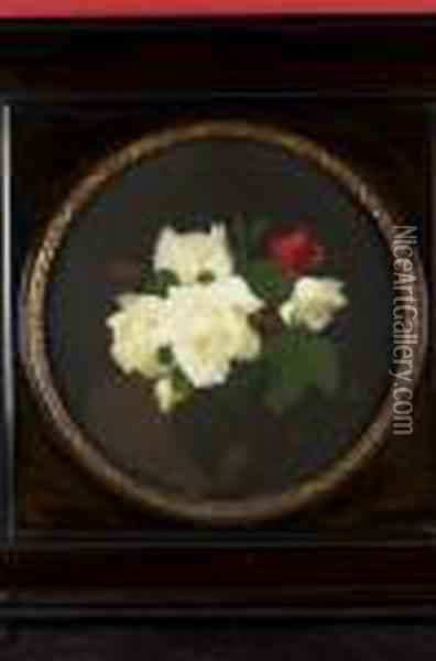 A Still Life Of Red And White Roses Oil Painting - James Stuart Park