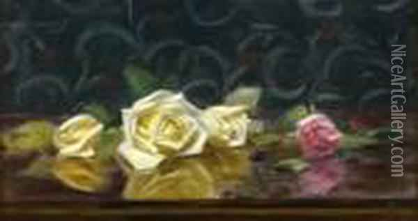 A Still Life Of Pnk And Yellow Roses Oil Painting - James Stuart Park