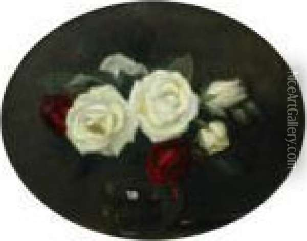 Red And White Roses In A Glass Bowl Oil Painting - James Stuart Park