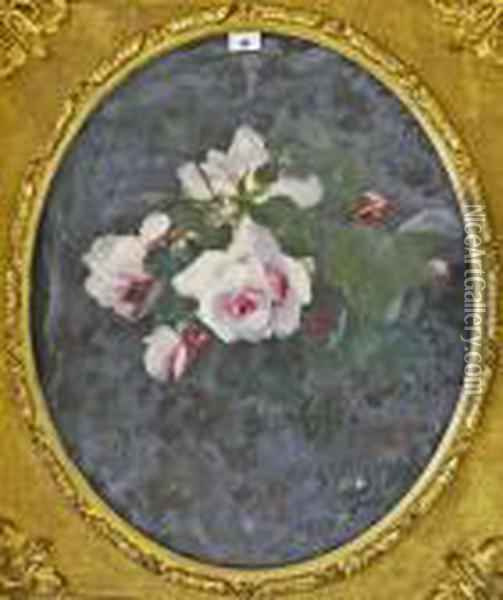 'still Life With Pink Roses'. Oil Painting - James Stuart Park