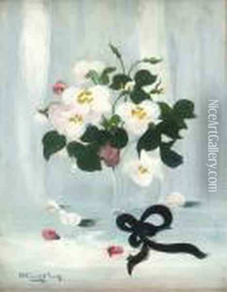 A Still Life Of White And Pink Roses Oil Painting - James Stuart Park