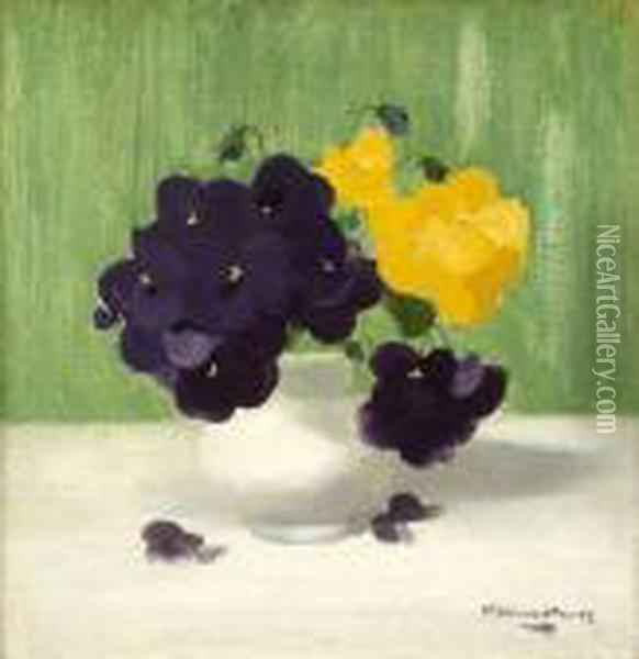 A Still Life Of Purple And Yellow Roses Oil Painting - James Stuart Park