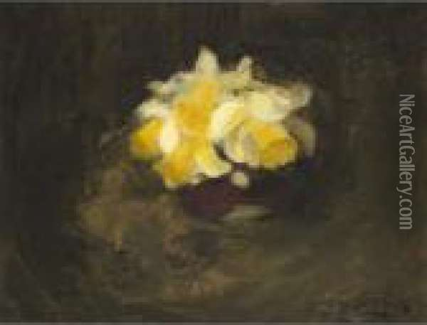 Daffodils; Rhododendrons Oil Painting - James Stuart Park