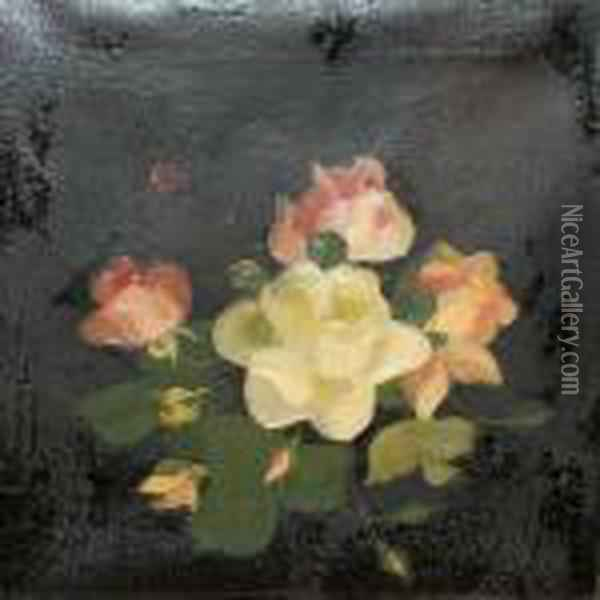 Pink And Lemon Roses Oil Painting - James Stuart Park