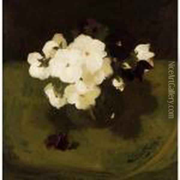 Still Life With White And Purple Pansies Oil Painting - James Stuart Park