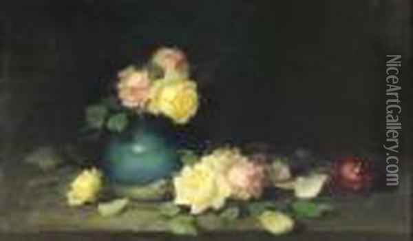 A Still Life Of Pink, Yellow And Red Roses Oil Painting - James Stuart Park