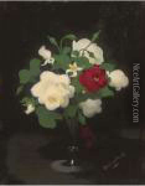 Red And White Flowers In A Glass Vase Oil Painting - James Stuart Park