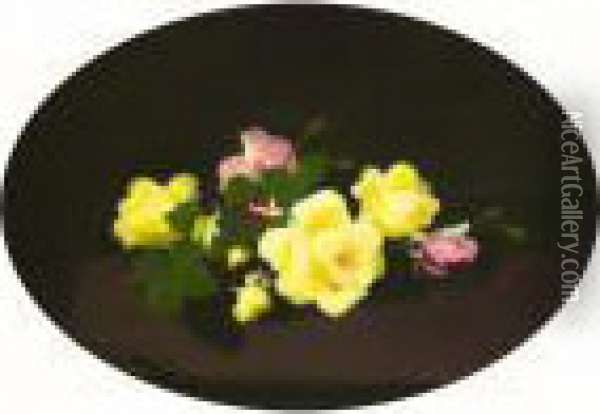 Still Life With Pink And Yellow Roses Oil Painting - James Stuart Park