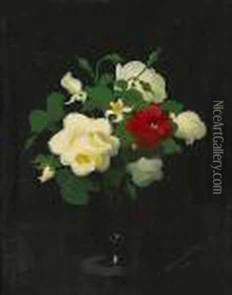 Red And White Roses Oil Painting - James Stuart Park