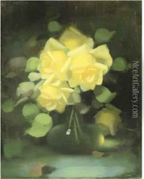 Yellow Roses In A Flask Bottle Oil Painting - James Stuart Park