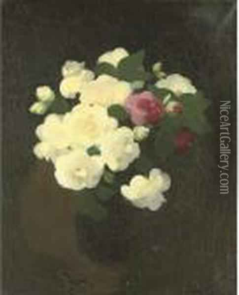 Pink And Yellow Camellias Oil Painting - James Stuart Park